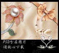 简约珠宝花卉丝绸电视背景墙