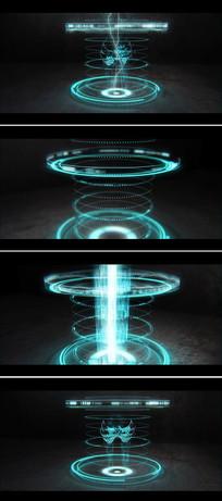 科技感全息成像闪电企业logo标志展示ae模板