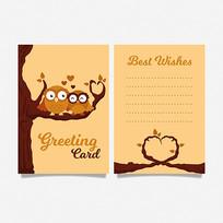猫头鹰卡通图案贺卡