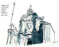 欧式城堡建筑手绘图