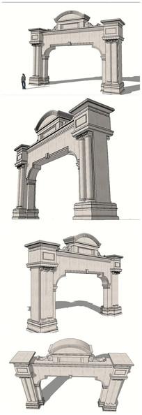 欧式建筑风格构筑大门SU模型 skp
