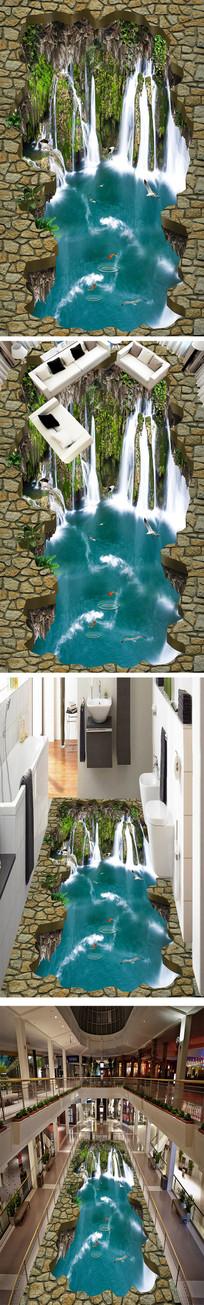 瀑布流水3D地画地砖