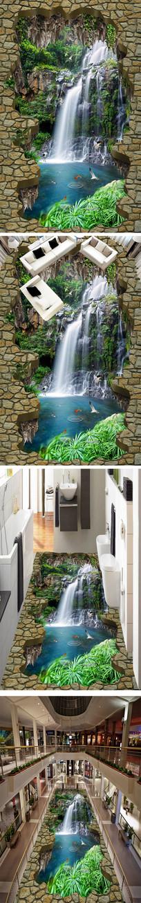 瀑布流水3D立体地画