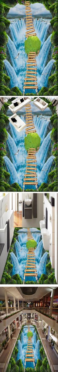 瀑布流水走道3D地画
