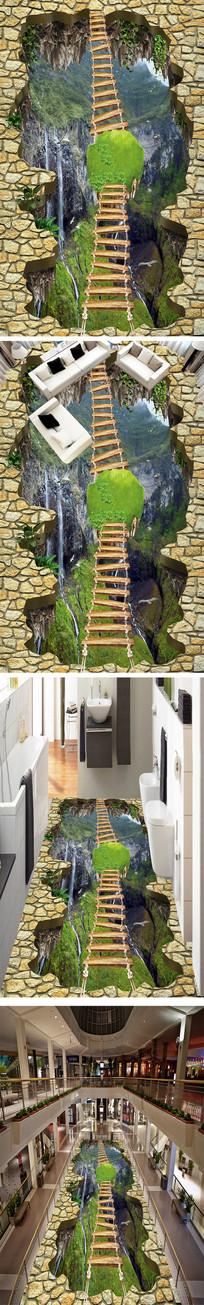 山崖瀑布流水立体地画