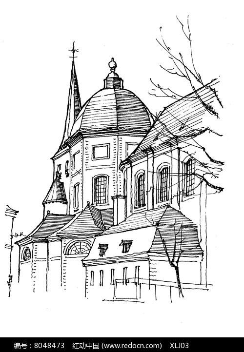 手绘城市景观建筑