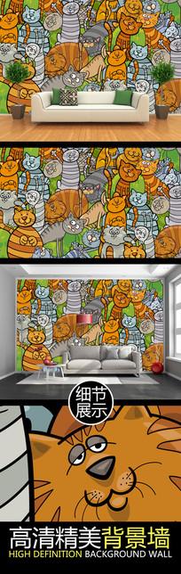 手绘猫图案PSD背景墙