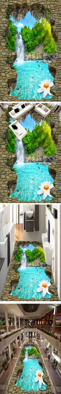 唯美瀑布流水3D立体地画