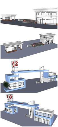 现代风格医院大门SU模型