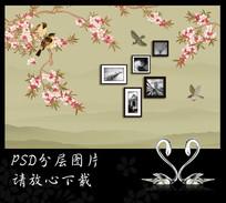 新中式花鸟相框桃花背景墙