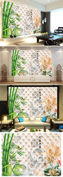竹报平安荷花倒影3D软包电视背景墙图片