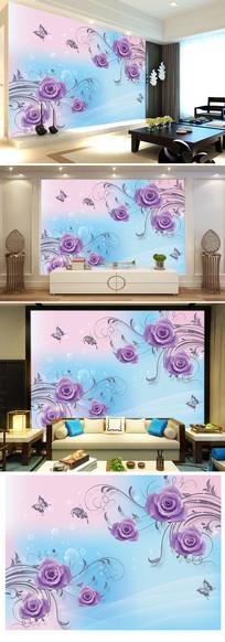 紫色玫瑰花现代简约电视背景墙图片