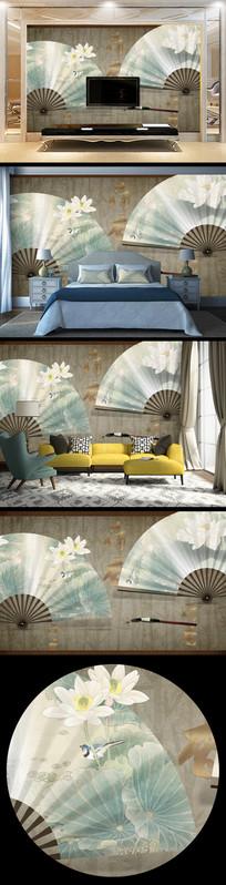 复古折扇花朵背景墙