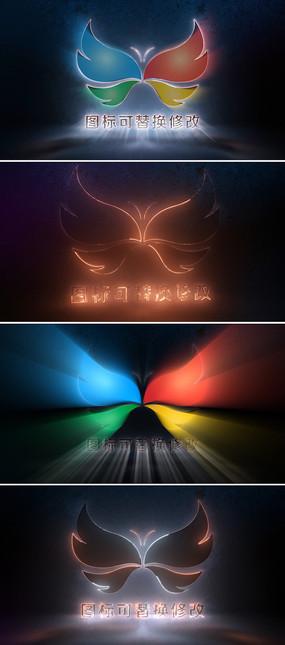 光线描边企业logo标志展示ae模板