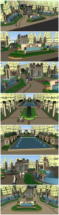 华润中央公园欧式风格小区入口大门SU模型
