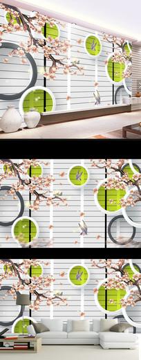 家和富贵玉兰花壁画电视背景墙