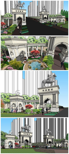 欧式风格小区入口景园区景观大门SU模型