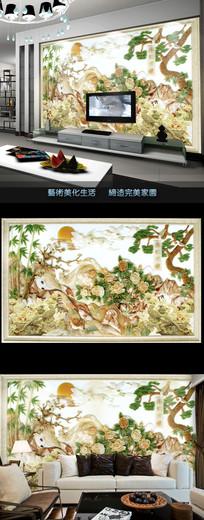 玉雕山水牡丹花壁画电视背景墙