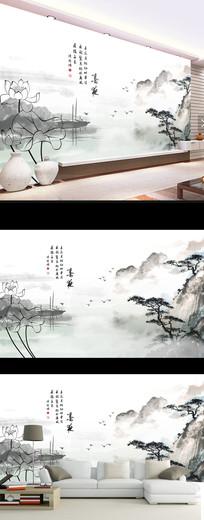 中式水墨山水荷花壁画电视背景墙