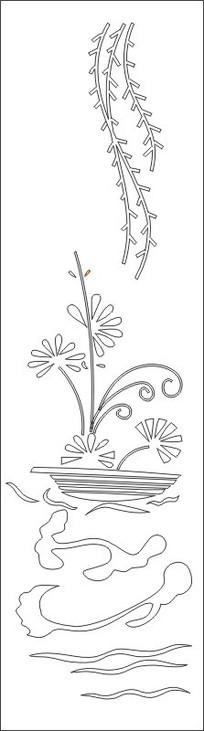 抽象花瓶柳叶雕刻图案图片