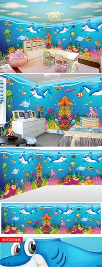 海底世界海豚主题餐厅儿童房背景墙图片