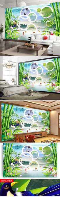 家和富贵竹子九鱼图中式电视背景墙图片