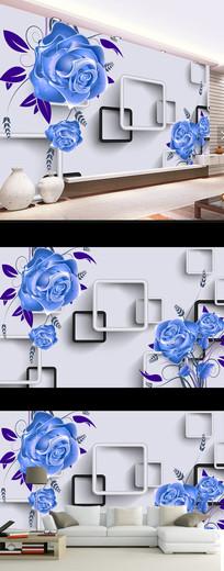 蓝色玫瑰花朵时尚现代电视背景墙