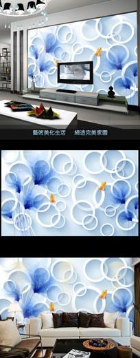 梦幻抽象花朵时尚壁画电视背景墙