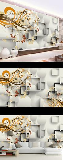梦幻抽象花卉时尚壁画电视背景墙