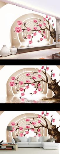 梦幻花朵时尚现代壁画电视背景墙