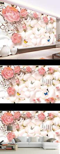 梦幻花朵时尚现代蝴蝶电视背景墙