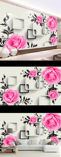 梦幻玫瑰花朵时尚壁画电视背景墙