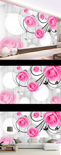 梦幻玫瑰花朵时尚现代电视背景墙