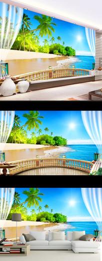 现代简约海边风景时尚壁画电视背景墙