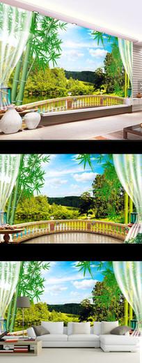现代简约青山绿水时尚风景壁画电视背景墙