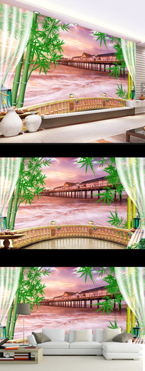 现代简约时尚风景壁画电视背景墙