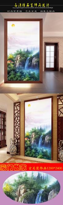 中国风高清油画旭日东升聚宝盆玄关装饰画
