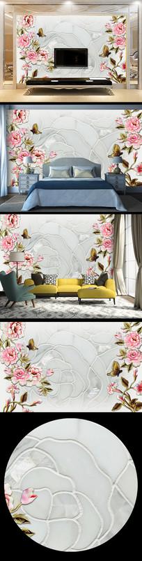大气花朵蝴蝶背景墙