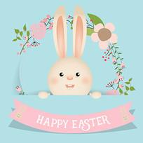 复活节兔子与丝带素材 EPS