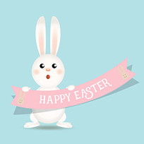 卖萌卡通复活节兔子插画
