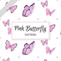 明信片粉红色蝴蝶图案