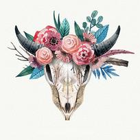 手绘水彩牛头动物骷髅装饰图案