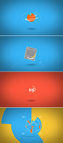 扁平化MG图形动画企业logo标志展示ae模板
