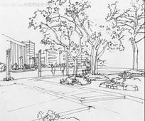 公园广场手绘图