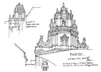 教堂手绘线稿