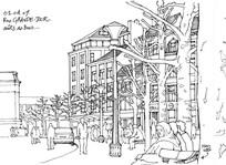 街道手绘线稿