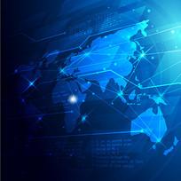 蓝光数码商务世界地图矢量图