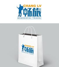 蓝色简约旅游logo