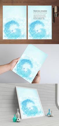 水彩蓝色海洋信纸背景设计
