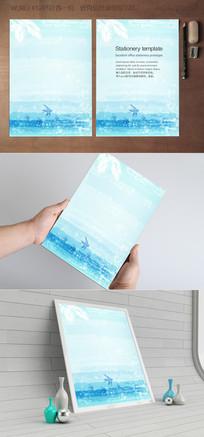 水彩神仙鱼海洋信纸